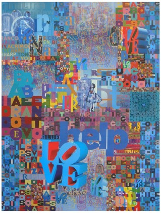 "Robert Swedroe, Love Letters Blue (2008), Mixed Media on Board, 24"" x 32"""