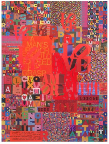"Robert Swedroe, Love Letters Red (2008), Mixed Media on Board, 24"" x 32"""