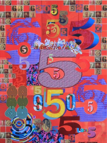 "Robert Swedroe, Five (2009), Mixed Media on Board, 24"" x 32"""