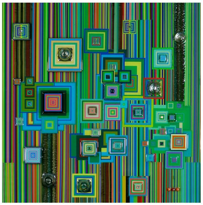 """Robert Swedroe, Cyber Spectrum (2010), Mixed Media on Board, 24"""" x 24"""""""