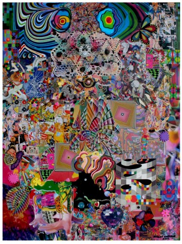 "Robert Swedroe, Dog Dreams (2007), Mixed Media on Board, 24"" x 32"""