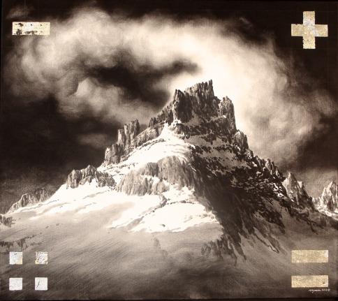 "George Kozmon, Western Ridge, acrylic, hand-ground maple charcoal, composition leaf, canvas, 50"" x 46"""