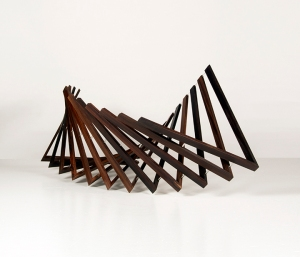 "Robert Winkler, Looking Through, Brazilian rosewood, glass, tung oil  18"" x 18"" x 44"""