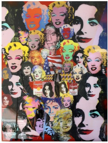 "Robert Swedroe, Taylor & Marylin Monroe. That's America (2014), Mixed Media on Board, 24"" x 32"""
