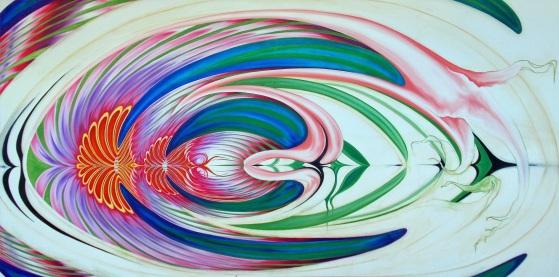 Evie Zimmer, Sweet Spectrum, Oil on Canvas 48 × 96 in 121.9 × 243.8 cm